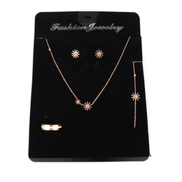 Wholesale Jewelry Displays For Earrings - High Quality Jewelry Packing Card 100pcs lot 14cmx19cm Black Velvet Rings Bracelet Necklace Earring Card Display For Jewelry Set Showcase