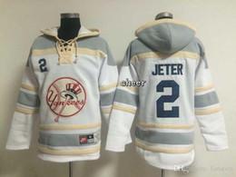 Wholesale Cheap Xxl Hoodies - 2016 Newest Wholesale Men's New York Yankees #2 jeter White Hoodies Sweatshirts Jersey, Free Shipping Cheap jerseys Size M-XXXL
