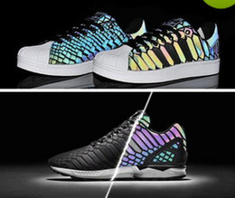 Wholesale New Flux - High quality The chameleon men's and women's shoes ZX FLUX XENO new reflective black snake spirit leisure shoes