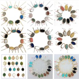 Wholesale Drusy Jewelry - Luxury Kendra Druzy scott Drusy Necklace Earrings 10 styles Popular Silver Gold Geometry Stone Necklaces 11 Colors New York Jewelry