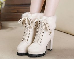 Wholesale Plain White Rice - The new 2016 autumn winter high-heeled boots rice white rabbit fur boots with thick with waterproof Martin boots fashion female boots