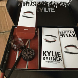 Wholesale New Browning Brushed - BRAND NEW Kylie Cosmetics By Kylie Jenner Kyliner In Black Brown with Eyeliner Gel pot Brush Free ship