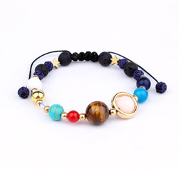 Wholesale universe bracelet - 2018NEW Universe Galaxy the Eight Planets in the Solar System Guardian Star Natural Stone Beads Strands Bracelet Bangle for Women & Men Gift