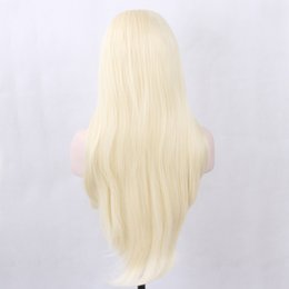 Wholesale Synthetic Clip Wigs - Favor Hair Blonde Color Synthetic Lace Front Wig with Straps and Clips Silky Straight Free Part Heat Resistant Fiber