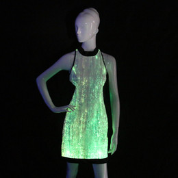 Wholesale Sexy Jazz Costumes - led light up dresses Glow in the Dark Bridesmaid Dresses Cheongsam Sleeveless Cocktail Evening Party Dress Newest jazz costumes
