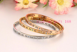 Wholesale Crystal Rome - pouplar style Women brand gold Rose Gold plated Crystal stainless steel number bracelet Rome Number Bangle Bracelet
