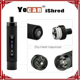 Wholesale E Cigarettes Lcd - [ sp ] 1 pc Authentic Yocan iShred Dry Herb Vaporizer E Cigarette Kits 2600mAh LCD Sreen Built-in Herb Grinder vs Yocan Evolve Plus