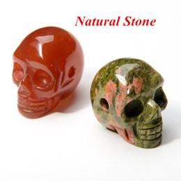 Wholesale Natural Mix Gemstone Pendants - Natural Stone Skull Pendant Necklaces Men Women Turquoise Gemstone Agate Quartz Crystal Skeleton Pendants With Chain Mixed Colors