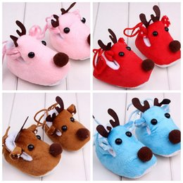 Wholesale Customized Baby Shoes - Cute Christmas Elk Baby Walking Shoes Soft Warm Winter Autumn Children Shoes Cotton Fabric Thread Lace-up Customized