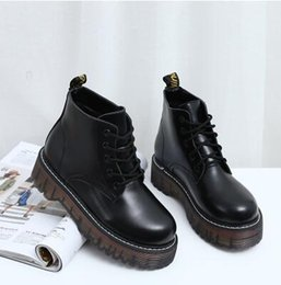 Wholesale Thick British Women - Martin boots harajuku female British autumn wind short boots with students thick bottom round head leisure female leather shoes