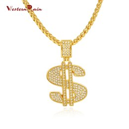 Wholesale Man S Necklace - WesternRain Fashion New Necklaces for Men Hip Hop 18K Gold Jewelry Long USD Letter S Pendant Necklace F809
