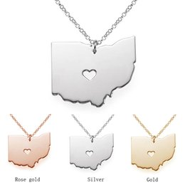 Wholesale Wholesale Custom Necklaces - Fashion Ohio State Cartographic Charm, 18K Rose Gold State OH pendant In Shape with A Heart Custom Necklace State Wholesale necklace