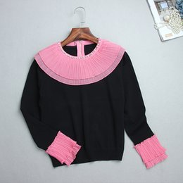 Wholesale Celebrity Bead - 2017 Autumn Black Panelled Beads Ruffle Zipper Crew Neck High Quality Long Sleeves Women's Sweater Celebrity Women's Pullovers 0909-6