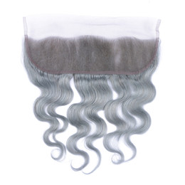 Wholesale Bleached Knots Closure Density - 8A Peruvian Grey Body Wave Lace Frontal Bleached Knots 130% Density Grey Full Lace Frontal Closure Wih Baby Hair Human Hair