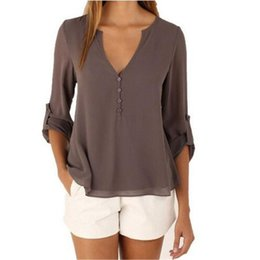 Wholesale Sexy Woman Ladies Shirt - Loose V Neck Women Tops Sexy Long Sleeve Low Cut Ladies Shirts Blouse Tops with Chiffon Material for Women TM2008