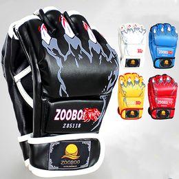 Wholesale Professional Workout - Half finger PU Tiger Pattern Boxing Gloves Professional Sanshou Thai Kickboxing Gloves fighting Training workout Gym
