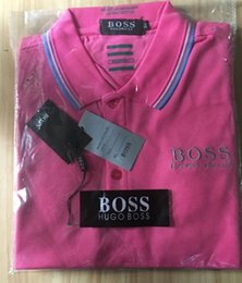 Wholesale Free Business Shirts - New Brands Mens POLO Shirts Cotton Business boss Short Sleeve Polo Solid Color Male movement Casual Polo Shirt 7 Colors Free Shipping