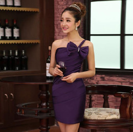 Wholesale One Shoulder Bowknot - 2017 Dark Purple Short Cocktail Party Dresses One Shoulder Pleats Beaded Bowknot Mini Homecoming Dresses Cheap In Stock