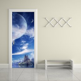 Wholesale Fantasy Decor - 77*200cm 3D Fantasy Planet Door Mural Sticker 3D Heavenly Body Island Fairyland Door Mural Decal Home Decor for Living Kids Room
