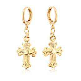 Wholesale Dangling Hoop - New 18K Yellow Gold Plated Christian Jesus Cross Hoop Earrings Fashion Jewelry Best Gift for Women