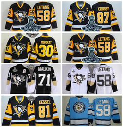 Wholesale Cheap Wholesale White Cups - Pittsburgh Penguins #58 Kris Letang Jersey Cheap #87 Sidney Crosby Hockey Jersey with 2016 Stanley Cup Champion Patches Allow Mix Order
