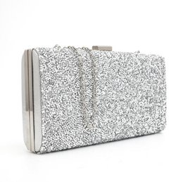 Wholesale Diamond Evening Bag - Factory Selling Rhinestones Women Clutch Evening Bags Crystal Wedding Bridal Handbags Purse Black Gold Silver 3 Colors With Chains Party Bag