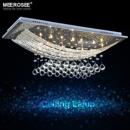 Wholesale Meeting Live - 8 lights Crystal Chandelier Light Fixture Rectangle Clear Crystal Lustre Lamp G4 for Dining room, meeting room MD5018