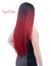 Wholesale Easy Tone - Ombre synthetic Wig Straight Burgundy Two Tone 1B 99J Wigs Ombre Hair Wig gift cap wigs adjustasble wig easy fashion healthy hair products