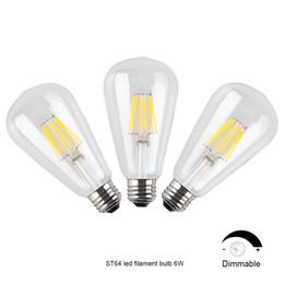 Wholesale E26 Led 6w - Dimmable 6W LED Filament Light Bulbs E26 Warm White 110V 90Ra Edison 2700K Vintage Globe Bulbs Cheap
