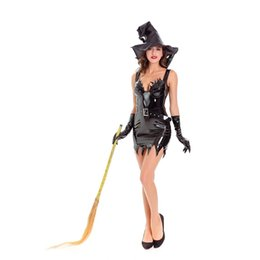 Wholesale Woman Vampire Sexy Costume - Novelty Women Sexy Witches Suit Halloween 4 Pcs Set Cosplay Costumes Black Leather Sleeveless Dress With Hat Sexy Vampire Suit W4110022
