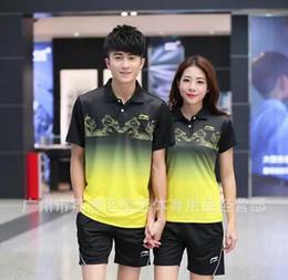 Wholesale Table Tennis Shorts Green - Li-Ning Badminton T-Shirts,sportswear lapel,men polyester Quick-drying breathable short shirt Moisture absorption Table Tennis Jerseys