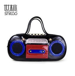 Wholesale Radio Leather - Factory direct brand handbag bag retro fan in Europe Music recorder street style radio brand ladies handbag hip-hop punk bag