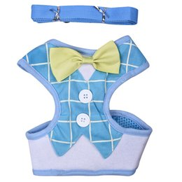 Wholesale Fall Harness - Elegant Bow Dog Harness Nylon Mesh Puppy Vest Breathable Pet Walking Harnesses and Leash Set Tuxedo For Chihuahua Small Dogs