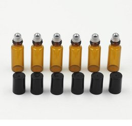 Wholesale Bottles For Oils - 1ml 2ml 5ml Amber Glass Roller Bottles With Metal Ball for Essential Oil,Aromatherapy,Perfumes and Lip Balms- Perfect Size for Tra