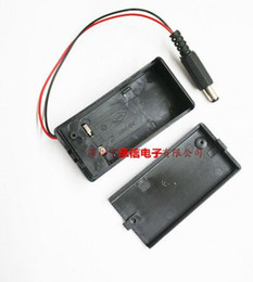 Wholesale 6f22 Batteries - New and original 5PCS 9V 6F22 With cover with switch with a dc head with battery box of 2.1 * 5.5 male head red and black