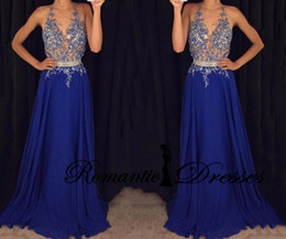 Wholesale Tank Top Prom Dresses - Royal Blue Tank Sleeveless Formal Evening Dresses Chiffon Long Sheer Top Appliques Evening Gown Prom Dresses Vestidos