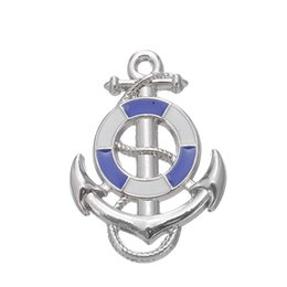 Wholesale White Anchor Bracelets - My Shape White and Blue Anchor Fishhook Nautical Charm Zinc Alloy Rhodium Plated Charm For Necklace And Bracelet