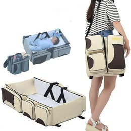 Wholesale Red Baby Diaper Bags - 3 in 1 Diaper Bag Baby Travel Bassinet Portable Changing Station Outdoor Baby Crib Folding Travel Crib Mummy Bag Portable