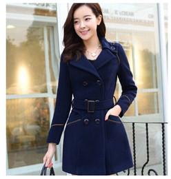 Wholesale Womens Belts Size M - 2016 winter women fashion woolen coat long Korean jacket new womens winter coats Plus size coats woman jackets for women Belt dust