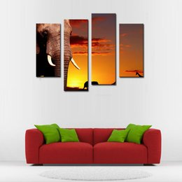 Wholesale Oil Painting African Art - Amosi Art-4 Pieces Wall Art African Elephant In At Sunset Painting Pictures Print On Canvas Animal For Home Decoration with Wooden Frame