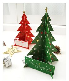 Wholesale Green Greeting Cards - Christmas Tree Creative Greeting Cards Merry Christmas Tree Xmas Thanks Holiday Gift Red Green Decorative Cards Festival Invitation