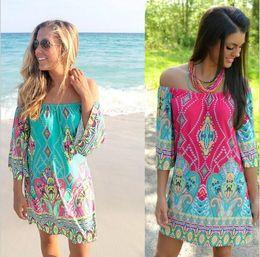 Wholesale Vintage Dress Colors - Off Should Vintage Dress Women 2017 Thailand Wind Beach Vestido 13 Colors Plus Size Women Clothing Africa Print Dashiki Dress