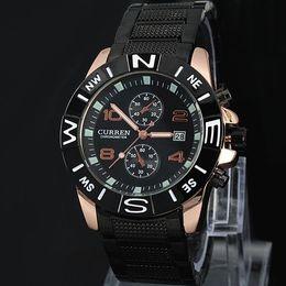 2017 caballero Nuevo CURREN marca Hombres reloj militar Fecha de Moda Cuarzo Ajustable relojes deportivos Hombres de Acero de Moda Reloj de Regalo Shiping Gratis desde fabricantes