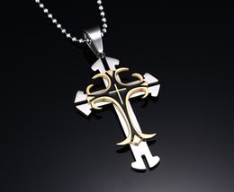 Wholesale Large Stainless Steel Cross Necklace - 8 Designs Fashion Men jewelry christian cross pendant 316L stainless steel metal large cross High Quality8