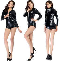 Wholesale Shiny Underwear - 2016 Good Quality Women Sexy Black Faux Shiny Leather Teddy Bodysuit Long Sleeve Shorts Underwear Pole Dance Clubwear Stage Fetish Lingerie