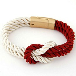 Wholesale Magnetic Clasps For Leather Braids - Charm Bracelet for Women Trendy Fashion Braided Rope Chain with Magnetic Clasp Bow Charm Leather Bracelets & Bangles for Women Men Jewelry