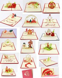wholesale 3d greeting card christmas greeting card christmas decorations pop up greeting card, 16 items mixed per lot