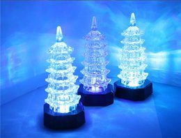 Wholesale Colour Changing Plastics - LED Night Lamp Decoration 1pcs Fashion Night Light Colour Changing LED Night Lamp Decoration Xmas Gift Toy Pagoda Small Night Light