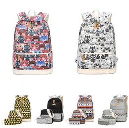 Wholesale canvas dots backpacks for girls - Backpack Women Owl Printing Backpack Canvas Bookbags School Backpacks Bags For Teenage girls Bagpack Backbag DHL Free Shippin