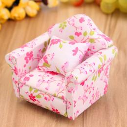 Wholesale Dollhouse Miniature Sofa - Wholesale- 1:12 Scale Pink Floral Miniature Armchair Single Sofa Couch For Children Mini DIY Dollhouse Furniture Toys Gift